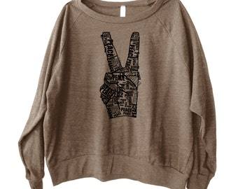 Peace Out Graphic printed on Women's American Apparel long sleeve pullover