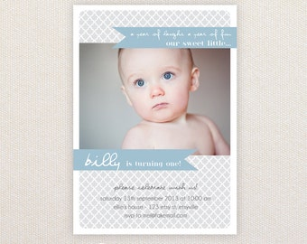 Boys Birthday Party Invitations. 1st birthday ribbons. I Customize, You Print.