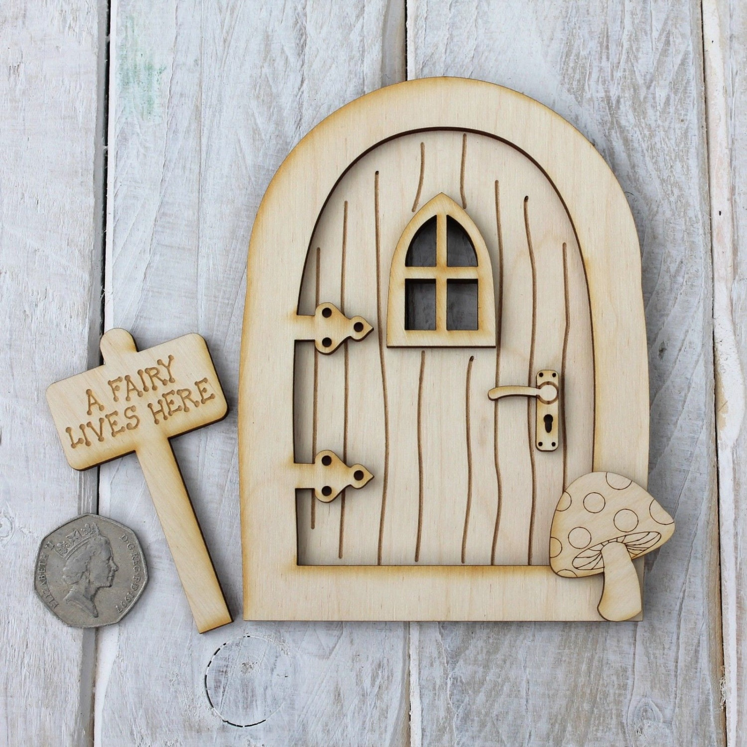 Wooden fairy door pixie door craft shape code by for Wooden fairy doors
