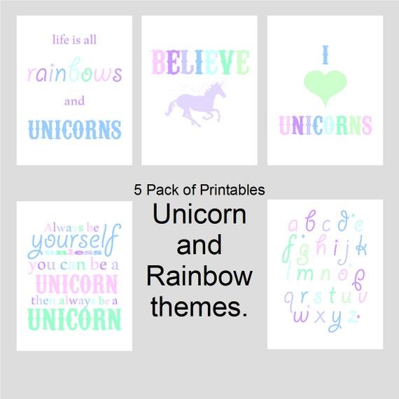 Items similar to unicorn and rainbow theme girls room for Rainbow themed baby nursery