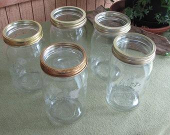 Kerr Mason Jars, Set of Five (5) Wide Mouth Fruit or Canning Jars, Quart Jars