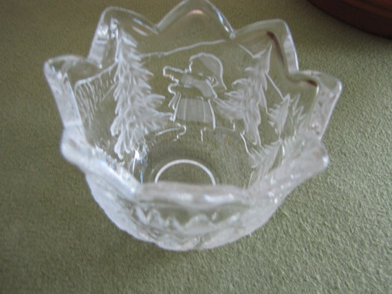 Vintage mikasa candle holder christmas story crystal bowl
