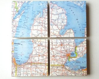 Michigan Map Mosiac Coaster Set