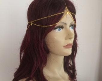 Bohemian Gold Coin Double Layer Head Chain, Head Piece, Wedding Head Chain, Body Chain