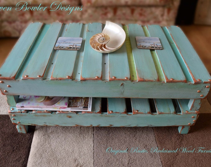 FREE UK SHIPPING Rustic Reclaimed Wood Coffee Table in Duck Egg Blue with Decorative Copper Edging & Tacks with Handy Undershelf Storage