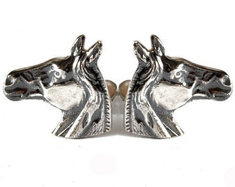 Horse head Cufflinks Sterling silver 925 oxidized for antique finish