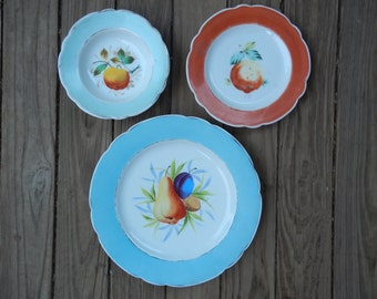 Trio of Vintage Hand Painted Fruit Plates!