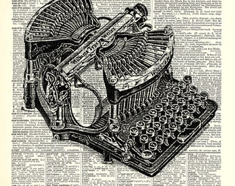 Vintage Typewriter. Print on Dictionary Book Pages.