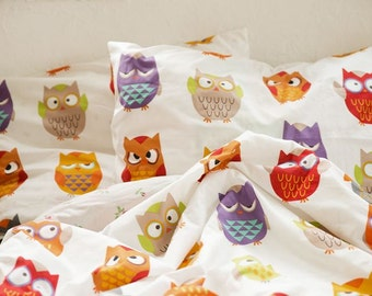 Cute Owls Pattern Cotton Fabric by Yard