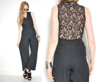 vintage 90s jumpsuit, backless jumpsuit, black jumpsuit, lace cutout, cutout jumpsuit, vintage romper, tuxedo jumpsuit, 90s clothing, XS