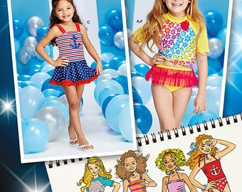 Simplicity Sewing Pattern 1120 Child's Rash Guard and Bathing Suit Pieces