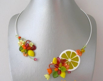 Jewelry designer necklace and yellow orange Citrus