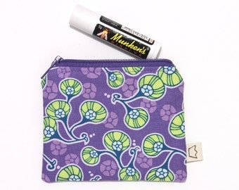 Purple coin purse small zip pouch