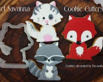 Fox Cookie Cutters- Raccoon Cookie Cutter - Cat Cookie Cutter