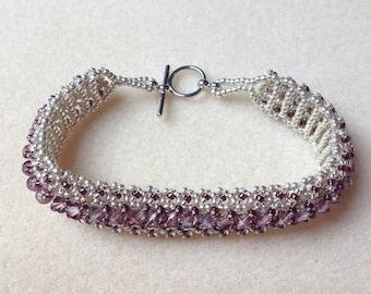 Beaded Swarovski Crystal Bracelet-Smokey Purple-8 in.