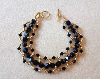 Hand Beaded Loop Bracelet-Black/Gold-7.5 in.