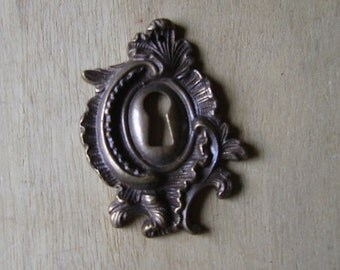 Antique French Brass Keyhole Escutcheon Hardware