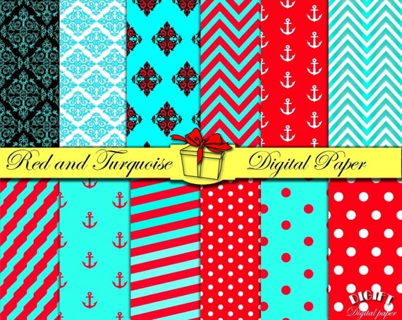 Red and Turquoise digital paper Red and Teal decor Red and white stripe fabric Red and turquoise wedding invitation paper party decorations