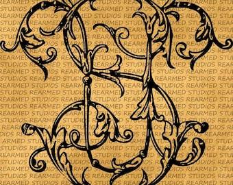 Vintage Floral SU Shape Vector Image/Clip Art - INSTANT DOWNLOAD