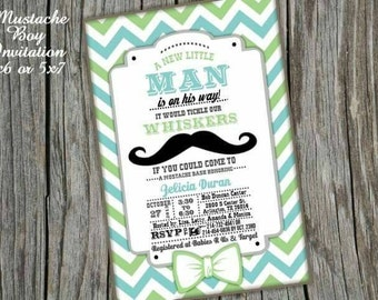 Mustache Boy Party Card DIGITAL FILE we personalize