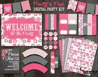 Pretty & Pink Digital Party Kit