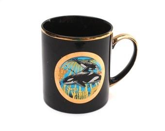 Whales Coffee Mug , Chokin Japanese Coffee Mug , Choking Art Coffee Mug Black and Gold , Sea World Souvenir , Vintage Chokin Coffee Mug