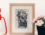 Limited Edition Linocut Printmaking Vintage Advertisement Print Rework - 1940s Three Cat Cigarettes Brand
