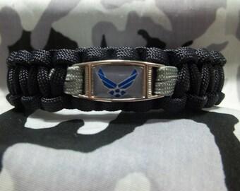 "HANDMADE United States Air Force Veteran ""AIM HIGH"" Inspired 550lb Paracord Survival Bracelet"