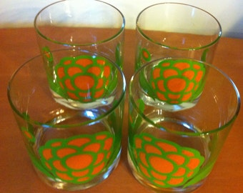Colony Mod Glass Bar set in orange chartreuse dahlia 4 pieces