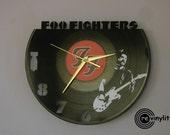 Foo Fighters clock, vinyl record clock, Foo Fighters, vinyl wall clock, record wall clock, vinyl clock. mancave decor