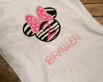 Personalized Minnie Mouse Birthday Onesie/Tshirt 1-9