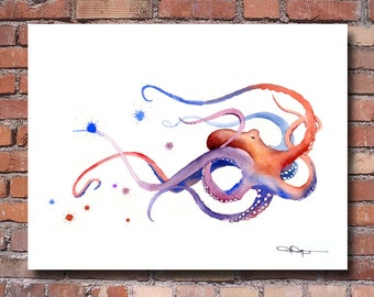 Octopus Art Print - Watercolor - Abstract Painting - Wall Decor