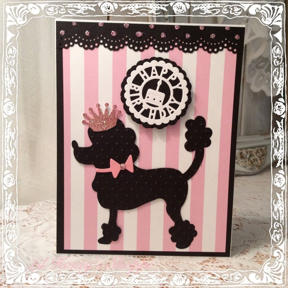 Birthday Card Paris Inspired Poodle French Greeting Card