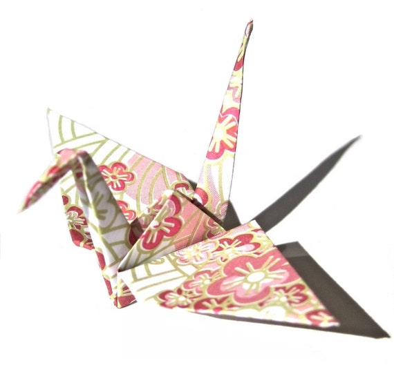 Sakura Blossom Pattern Origami Crane in Pink ( 50 Count ... - photo#9