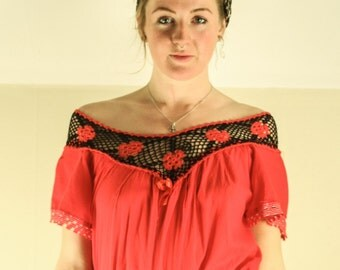 fire red 1960s off shoulder blouse