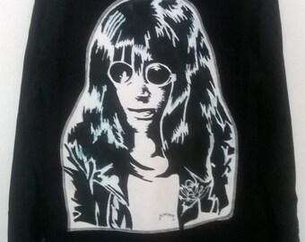 joey ramone black long sleeve female punk shirt