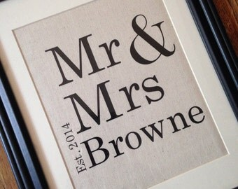 Mr. and Mrs. Personalized Wedding Canvas with Established Date