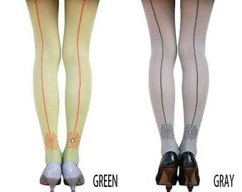 Spiderweb back seam tights 30D / Green / Gray
