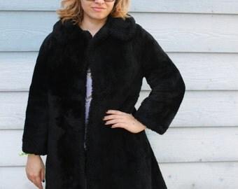 Vintage Black Faux Fur Trench Coat