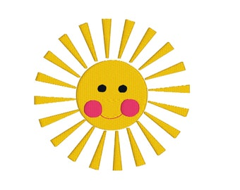 BUY 2, GET 1 FREE - (HFS18) Filled Happy Face Sun Machine Embroidery Design - Happy Summer