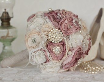 Vintage Inspired Brooch Wedding Bouquet, Ivory, Cream and Dusty Pink, Satin, chiffon and Lace Bouquet