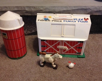 Vintage Fisher Price Farm Barn Set WITH Horse, Chicken and SILO