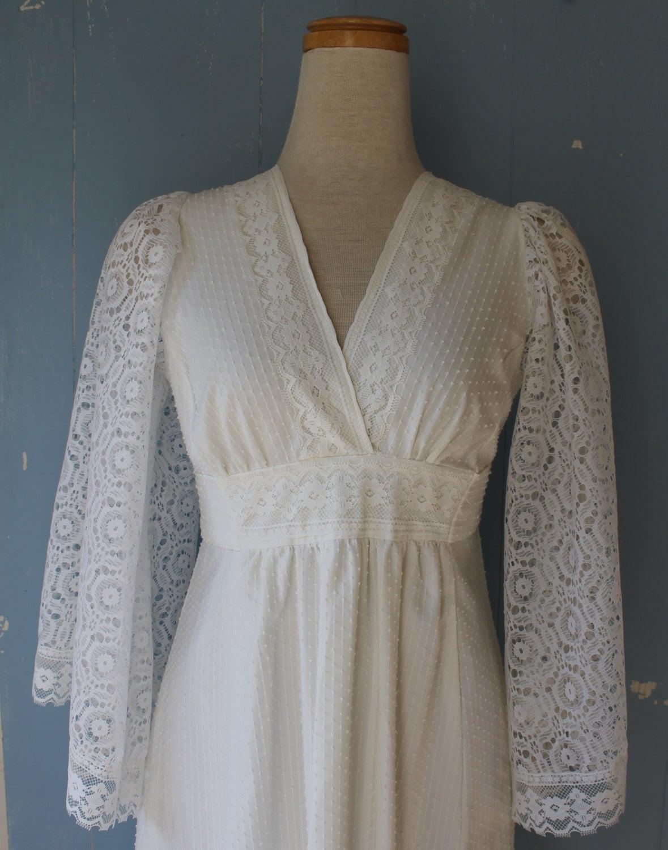 Vintage White Cotton and Lace Boho Maxi Dress Wedding