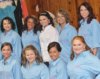 Set of eight Monogrammed Bridal Party button down shirts
