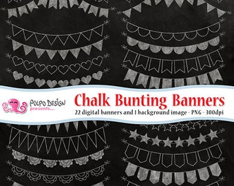 Chalkboard Bunting Banners Cliparts. Digital clip art. Commercial & personal Use. Instant Download. PNG chalk ribbons, banner ribbon garland