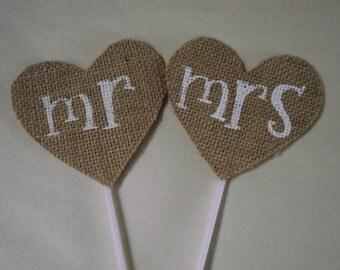 MR & MRS Wedding Cake Topper Burlap Hessian Rustic Wedding Burlap Heart Country Primitive