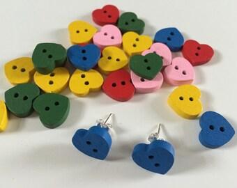 Wooden Colour Heart Silver Stud Earrings