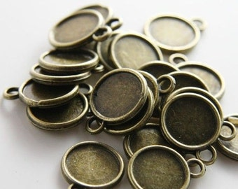 14mm Round Pendant Tray, Bezel Setting, 14mm  Cabochon Tray - Antique Bronze,Antique Silver,Double Same Side