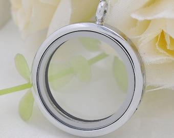 Round Floating Locket, Living locket, Glass locket pendant, Floating glass Lockets, Memory Lockets for necklace, 30mm