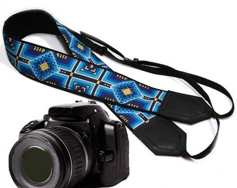 Blue Ethnic Camera strap.  DSLR Camera Strap with ornament. Camera accessories. Photographer gift by InTePro